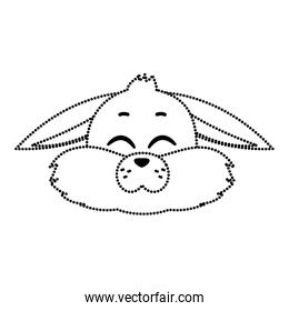 dotted shape wild rabbit animal with closed eyes