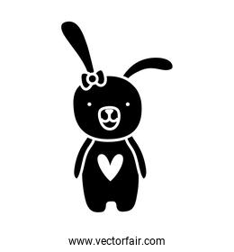 silhouette rabbit female animal with ribbon bow