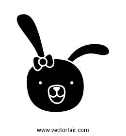 silhouette cartoon rabbit female head with ribbon bow