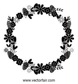 silhouette circle beautiful flowers petals design