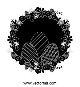 silhouette eggs easter decoration with circle flowers design