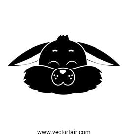 silhouette wild rabbit animal with closed eyes
