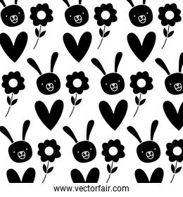 silhouette rabbit head with flower and heart background