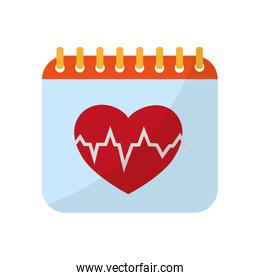 calendar with heartbeat to organize information event