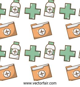 cross seal with folder file and alcohol background