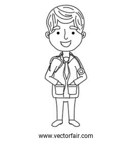 dotted shape man doctor with hairstyle and medical uniform