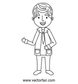 dotted shape professional man doctor with clothes and uniform