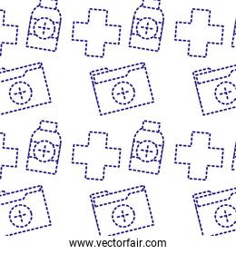 dotted shape cross seal with folder file and alcohol background