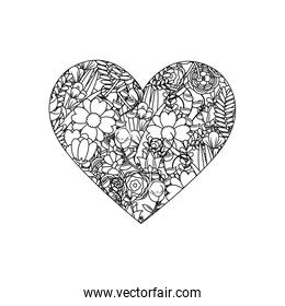 line heart with beauty flowers and leaves branches decoration