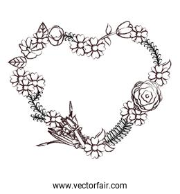 grunge beautiful flowers branches decoration with heart shape