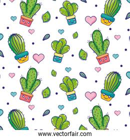 kawaii cactus plant with heart and leaves background