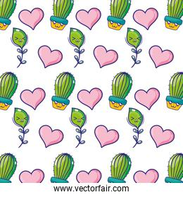kawaii happy cactus plant with heart and leaf branches background