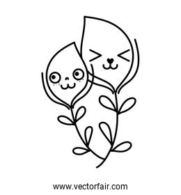 line kawaii facial expression leaves branches