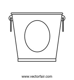 line metallic bucket object to collect water