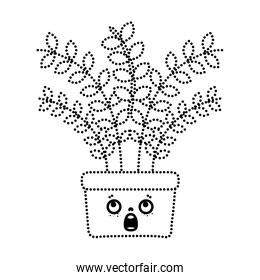 dotted shape kawaii scared plant with leaves inside flowerpot