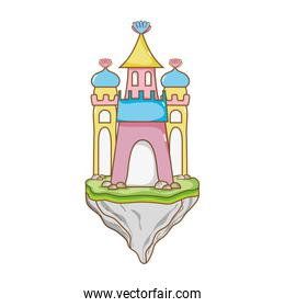 cute medieval castle in the floating sland