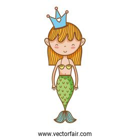 cute woman siren with crown and tail design