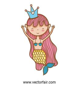 happy woman siren with crown and hairstyle