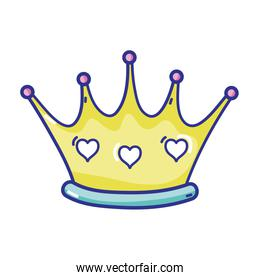 queen luxury crown with hearts decoration