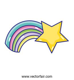 shiny star with rainbow weather in the sky