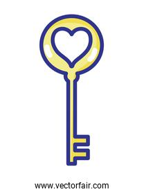 key security object with heart design