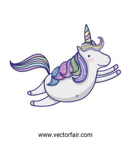unicorn flying with precious hair and horn