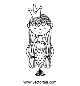 line cute woman siren mermaid with crown