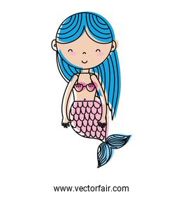 moved color happy and beauty woman siren mermaid