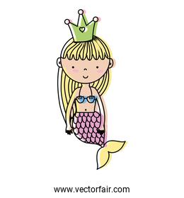 moved color cute woman siren with crown and hairstyle