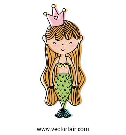 moved color cute woman siren mermaid with crown