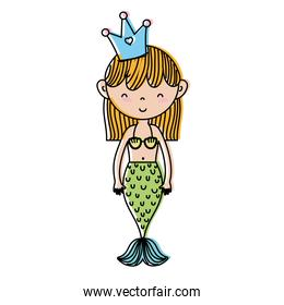 moved color cute woman siren with crown and tail design