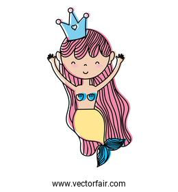 moved color happy woman siren with crown and hairstyle