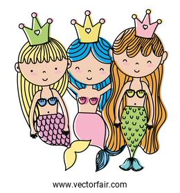 moved color happy women sirens friends with crown
