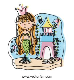 moved color woman siren with crown and sweet castle