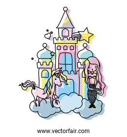 moved color beauty woman siren with unicorn in the castle