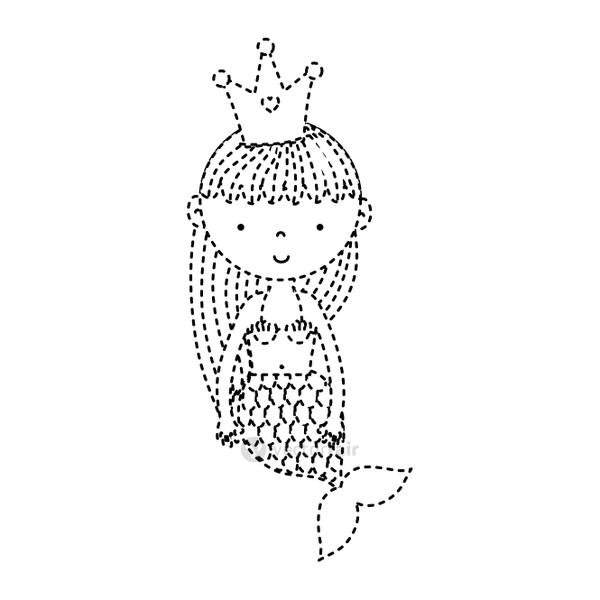 dotted shape cute woman siren with crown and hairstyle