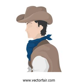 horse rider with hat and kerchief design