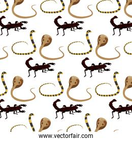 snake with scorpion and king cobra background