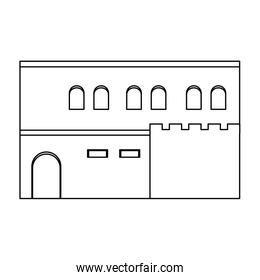 line arabic house with windows and door design