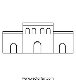 line arabic house with door design and windows