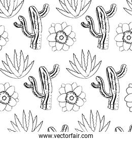 grunge nature cactus with flower and plant background