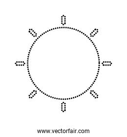 dotted shape shine sun ray weather icon