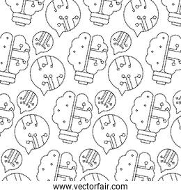 dotted shape brain bulb with chat bubbles circuits background