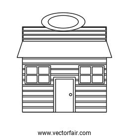 line wooden house with roof and windows design