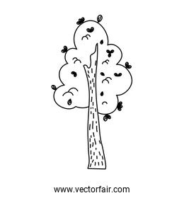 line natural tree with leaves design