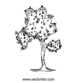line natural tree with leves branches design