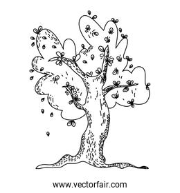 line tree with natural branches leaves design