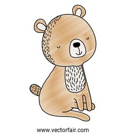 doodle happy bear seated animal with tail