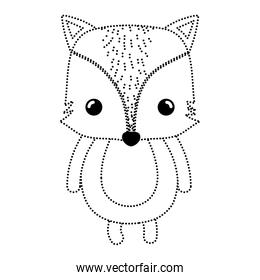 dotted shape happy fox wild cute animal