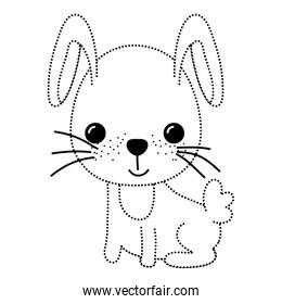 dotted shape happy rabbit seated animal with tail